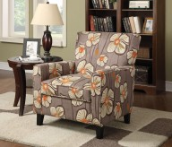 Alvah Olive Brown Floral Accent Chair