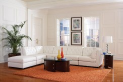Quinn White Bonded Leather Sectional Available Online in Dallas Texas
