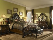 Palace Gates 5pc Queen Tufted Leather Mansion Bedroom Group by Aico Available Online in Dallas Texas