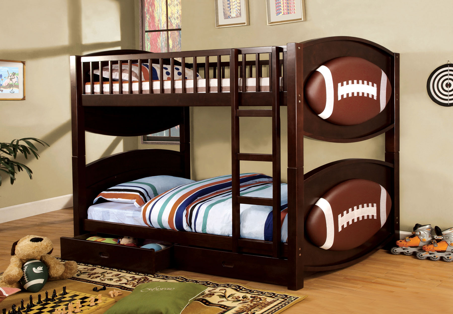 Foa Furniture Of America Football Twin Twin Bunk Bed