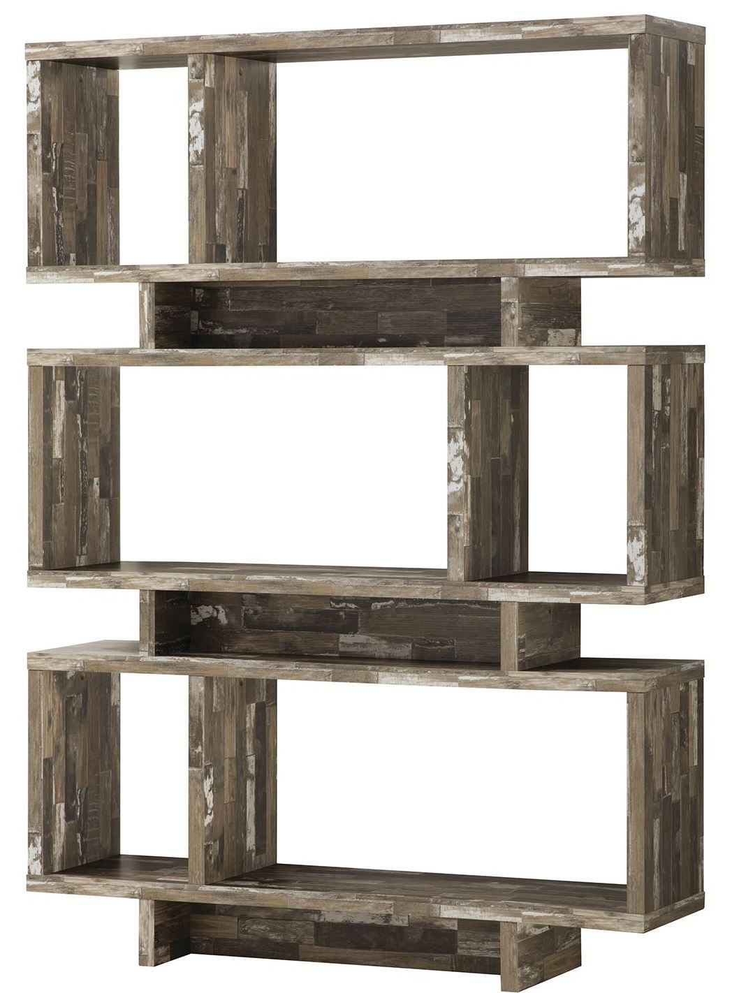 Coaster Peel Salvaged Cabin Open Bookcase With Distressed Wood