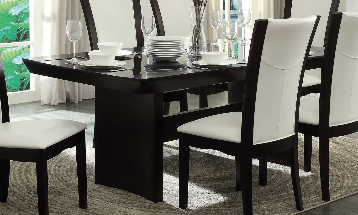 Homelegance Daisy Dark Brown Glass Top Dining Table