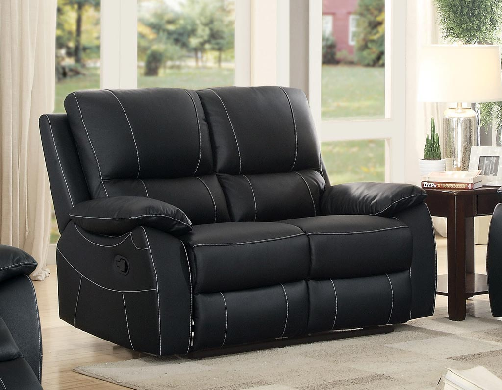 Terrific Homelegance Greeley Black Double Reclining Loveseat Beutiful Home Inspiration Cosmmahrainfo