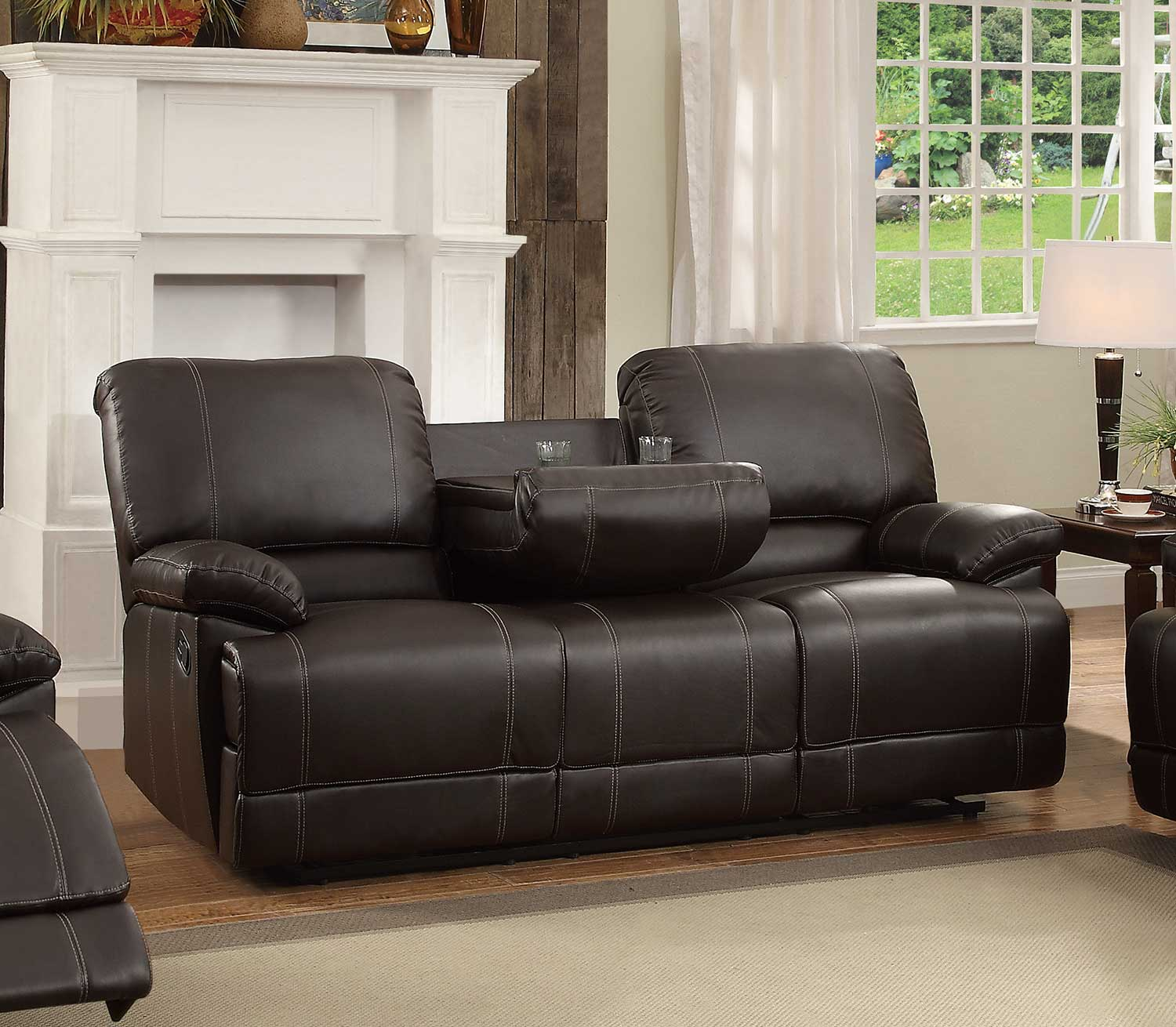 Picture of: Homelegance Cassville Dark Brown Double Reclining Sofa With Center Drop Down Cup Holders Dallas Tx Living Room Sofa Furniture Nation