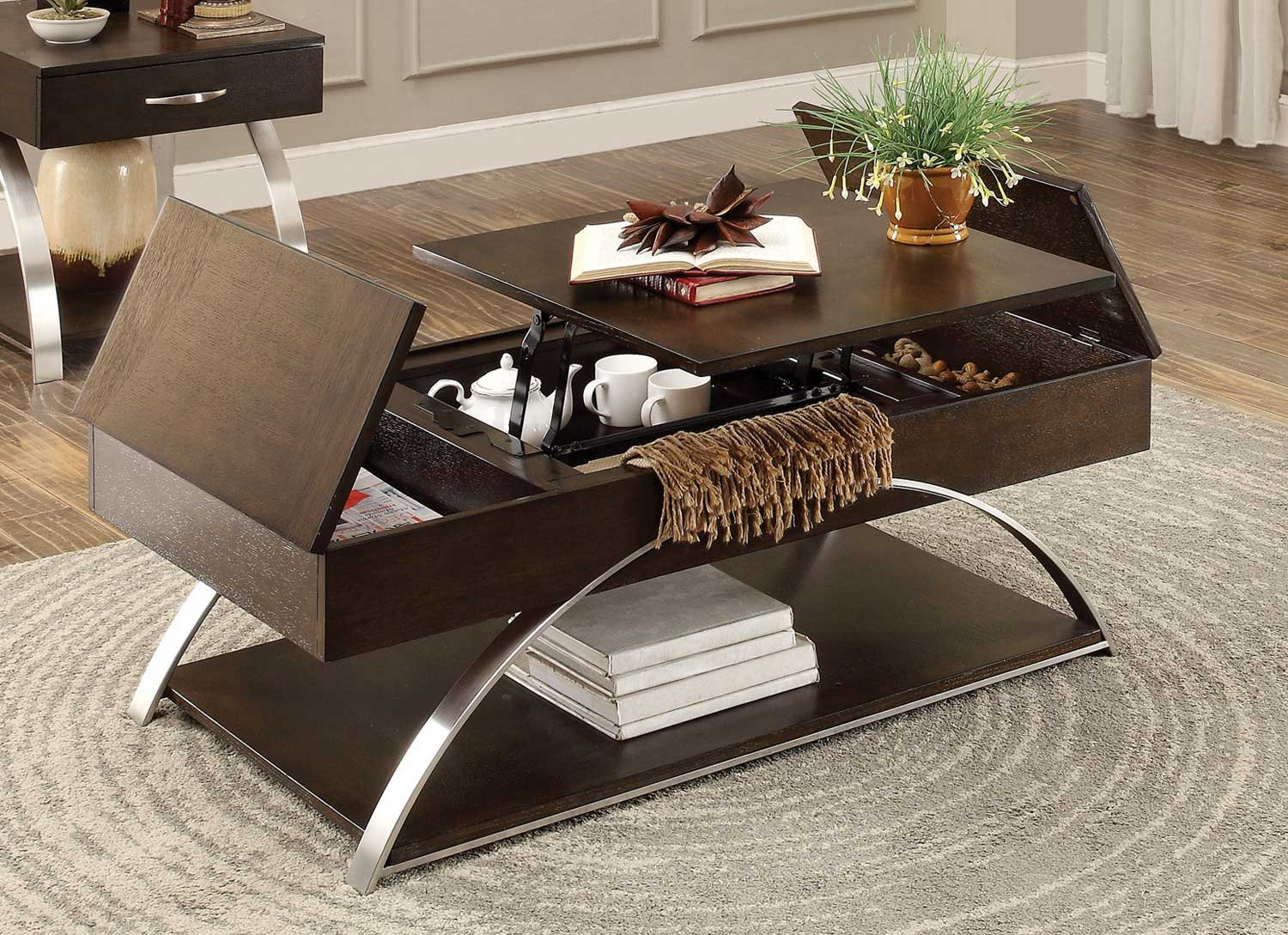 Homelegance Tioga Espresso Cocktail Table With Lift Top And