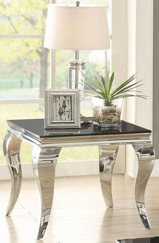 Coaster Glam Chrome And Black End Table Dallas Tx