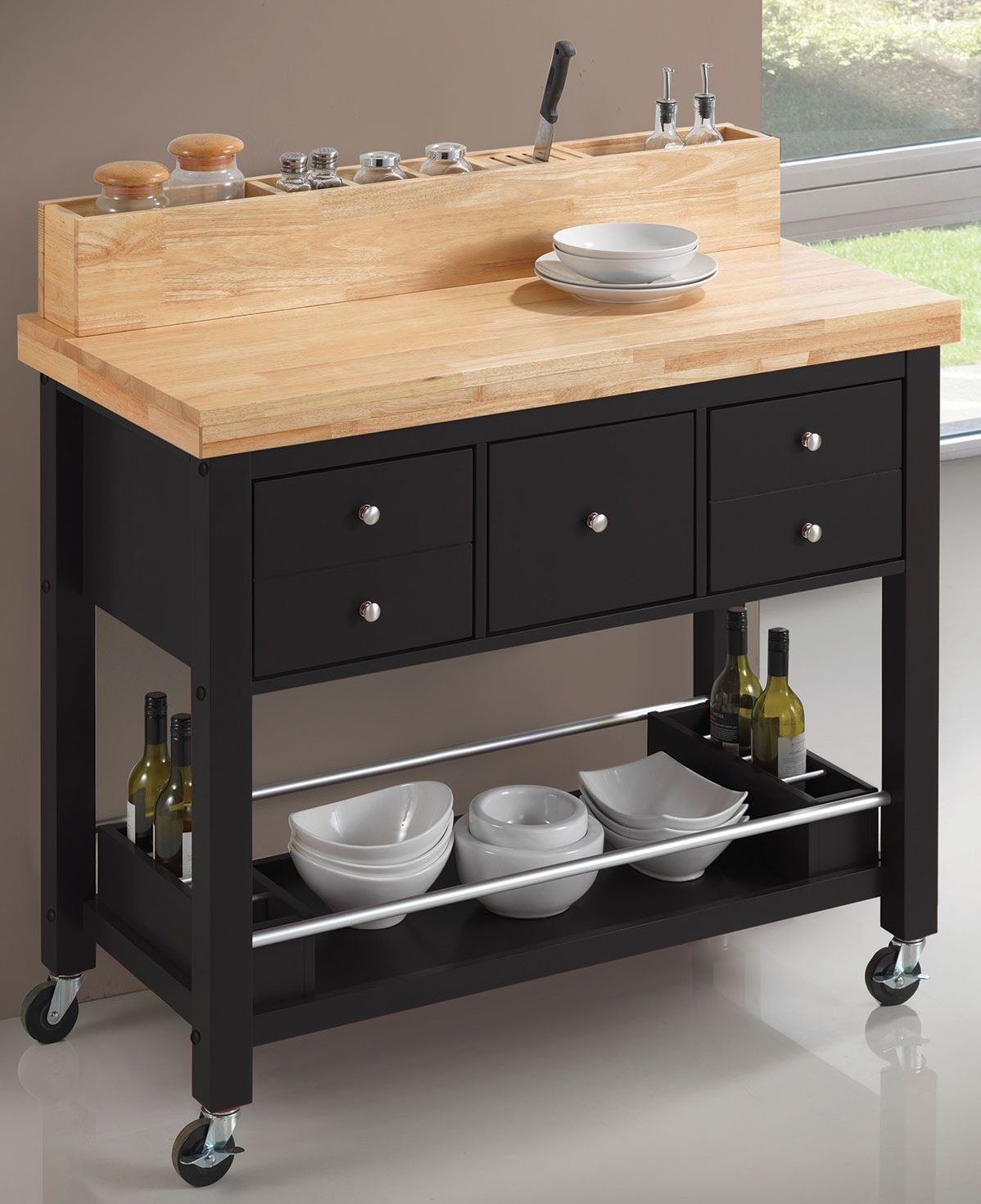 Coaster Kitchen Carts Natural and Black Kitchen Island