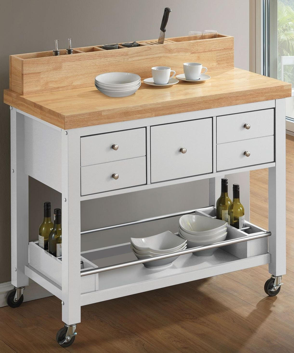 Coaster Kitchen Carts Natural and White Kitchen Island