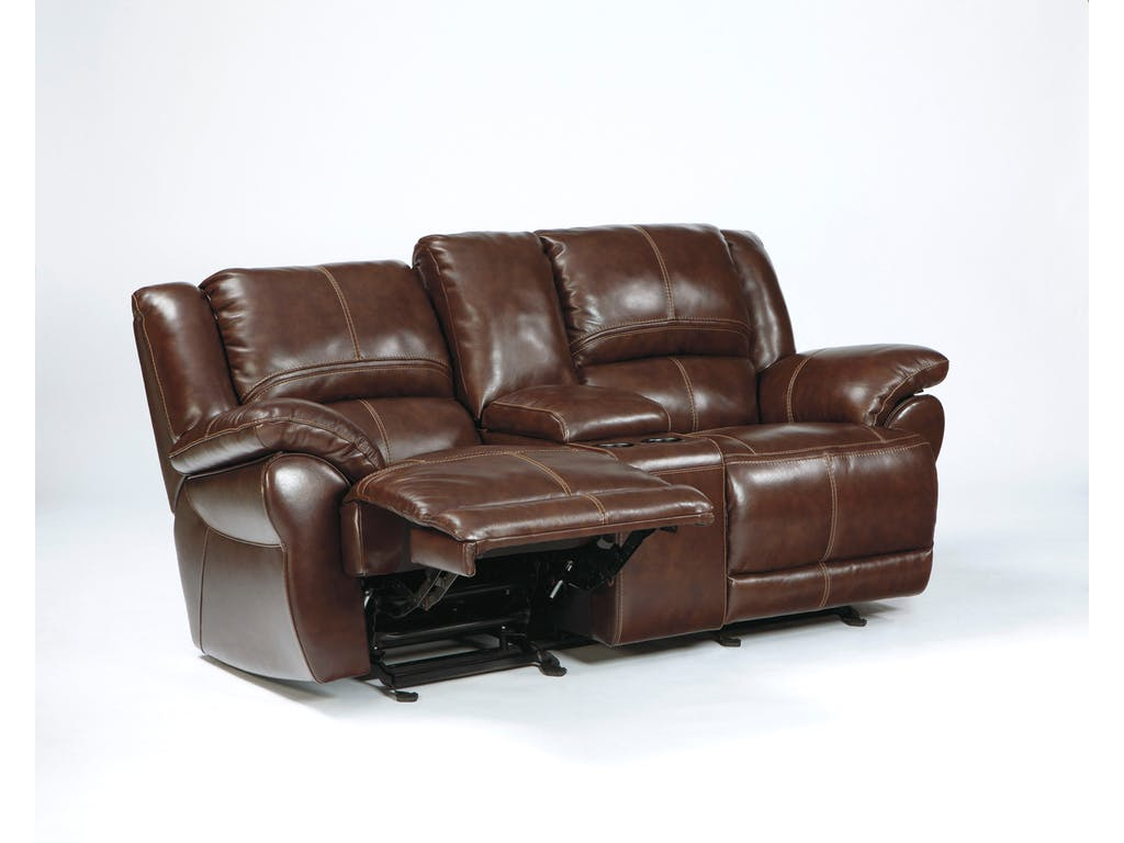 Lenoris Coffee Glider Recliner Power Loveseat With Console