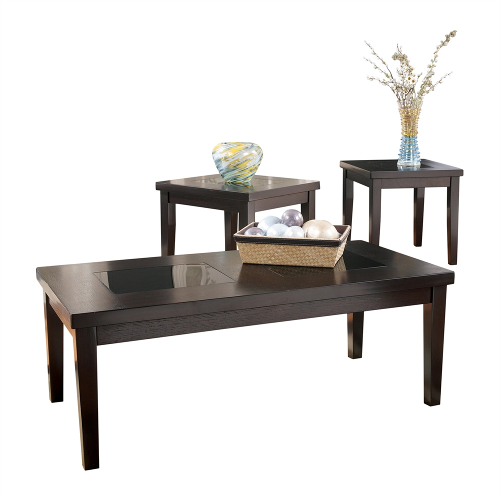 Ashley Denja 3pc Dark Brown Coffee Table Set Dallas Tx Occasional Tables Furniture Nation