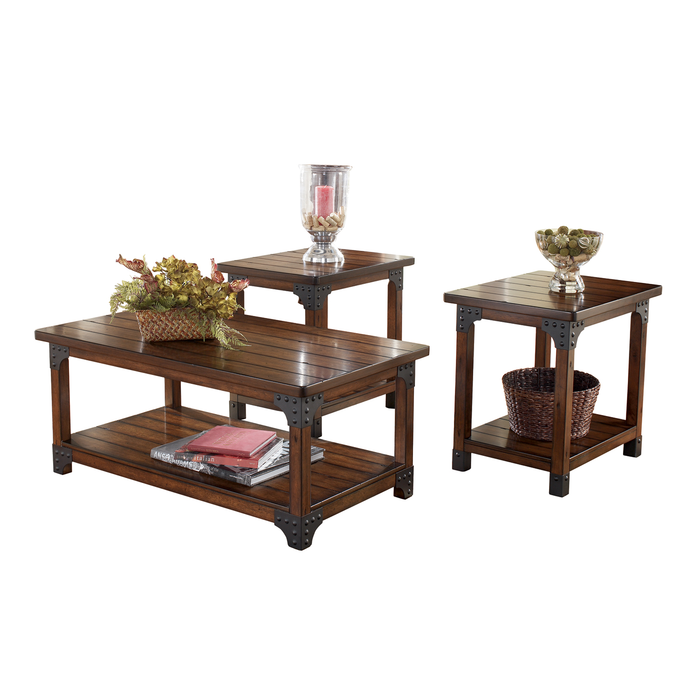 Ashley Murphy 3pc Medium Brown Coffee Table Set Dallas Tx Occasional Tables Furniture Nation
