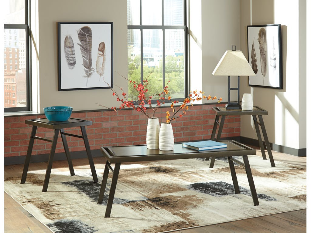 Ashley Farna 3pc Brown Coffee Table Set Dallas Tx Occasional Tables Furniture Nation