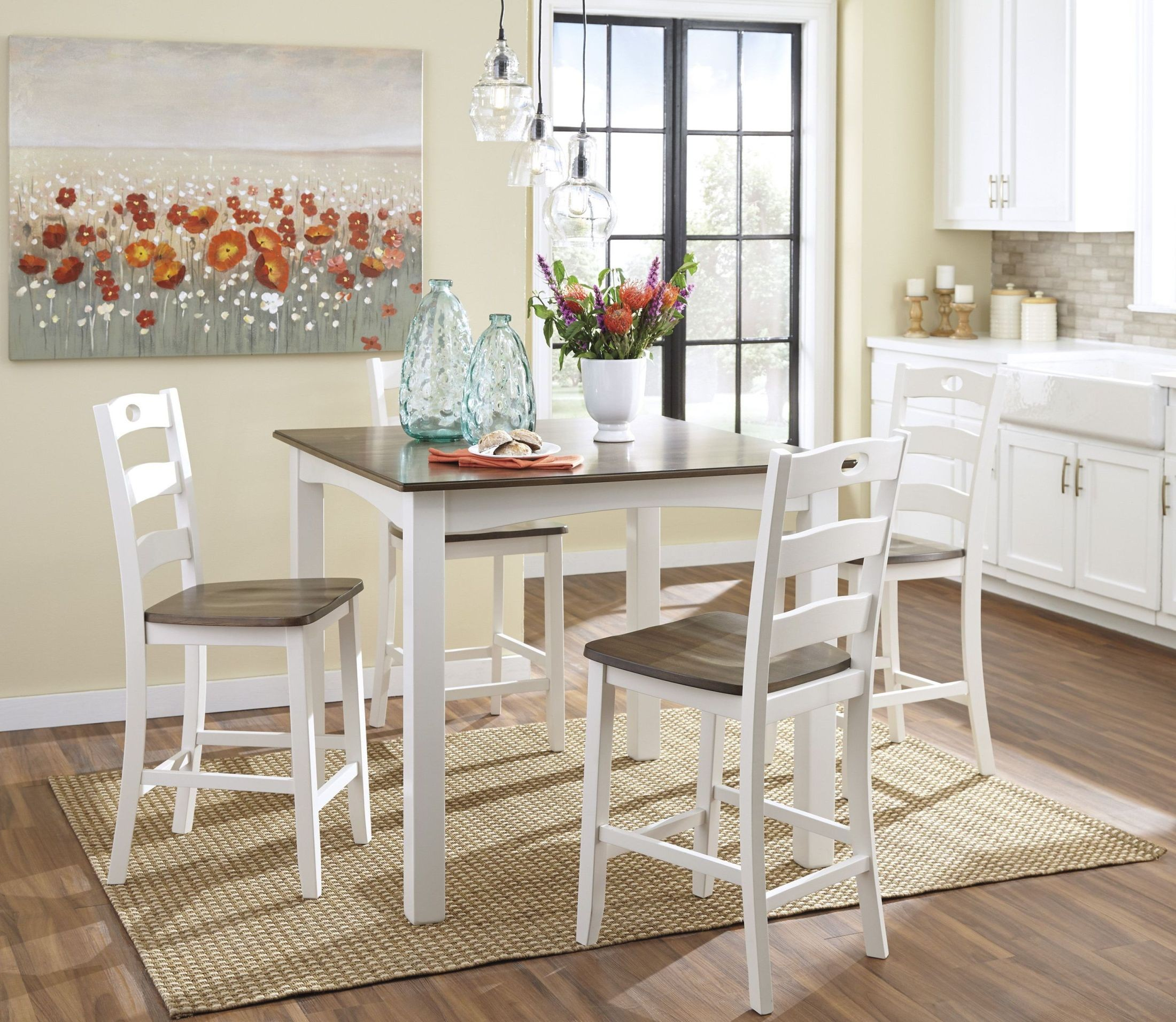 Dining Room Sets Dallas Tx: Ashley Woodanville White & Brown Counter Height Dining