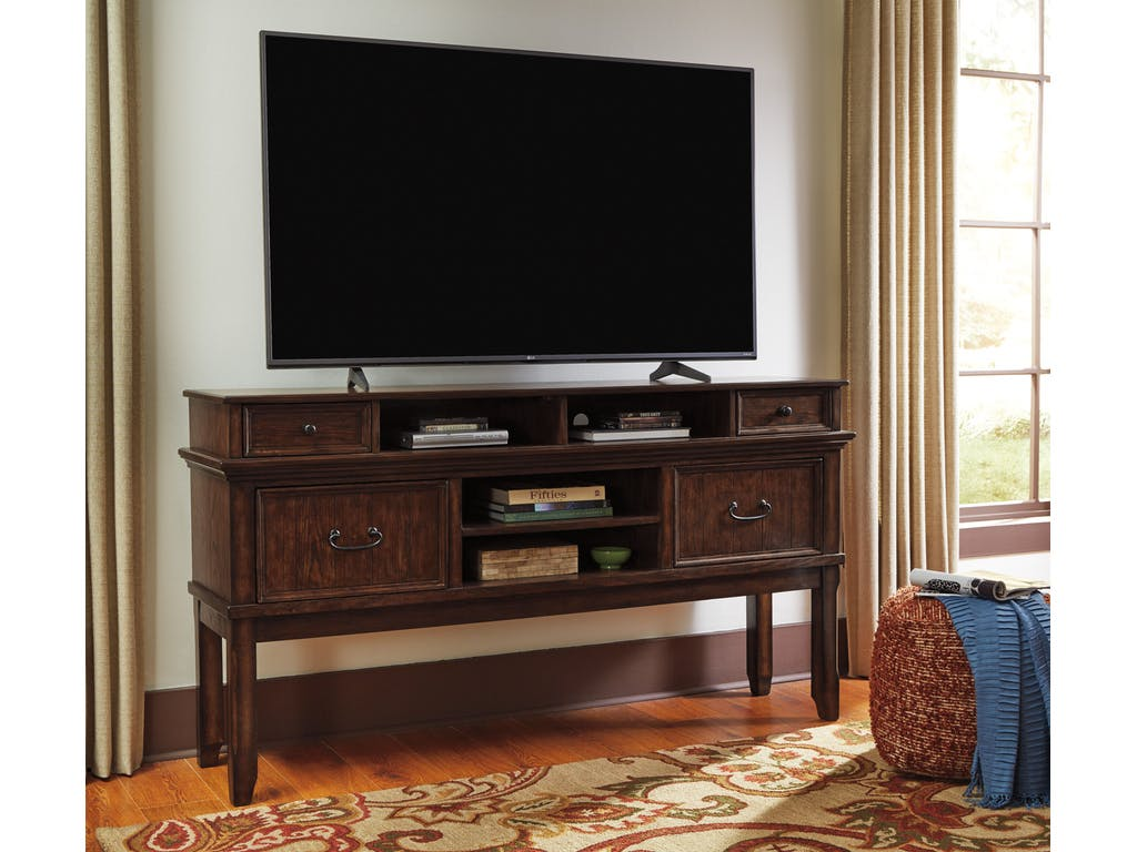 Ashley Woodboro Dark Brown Extra Large Tv Stand Dallas Tx