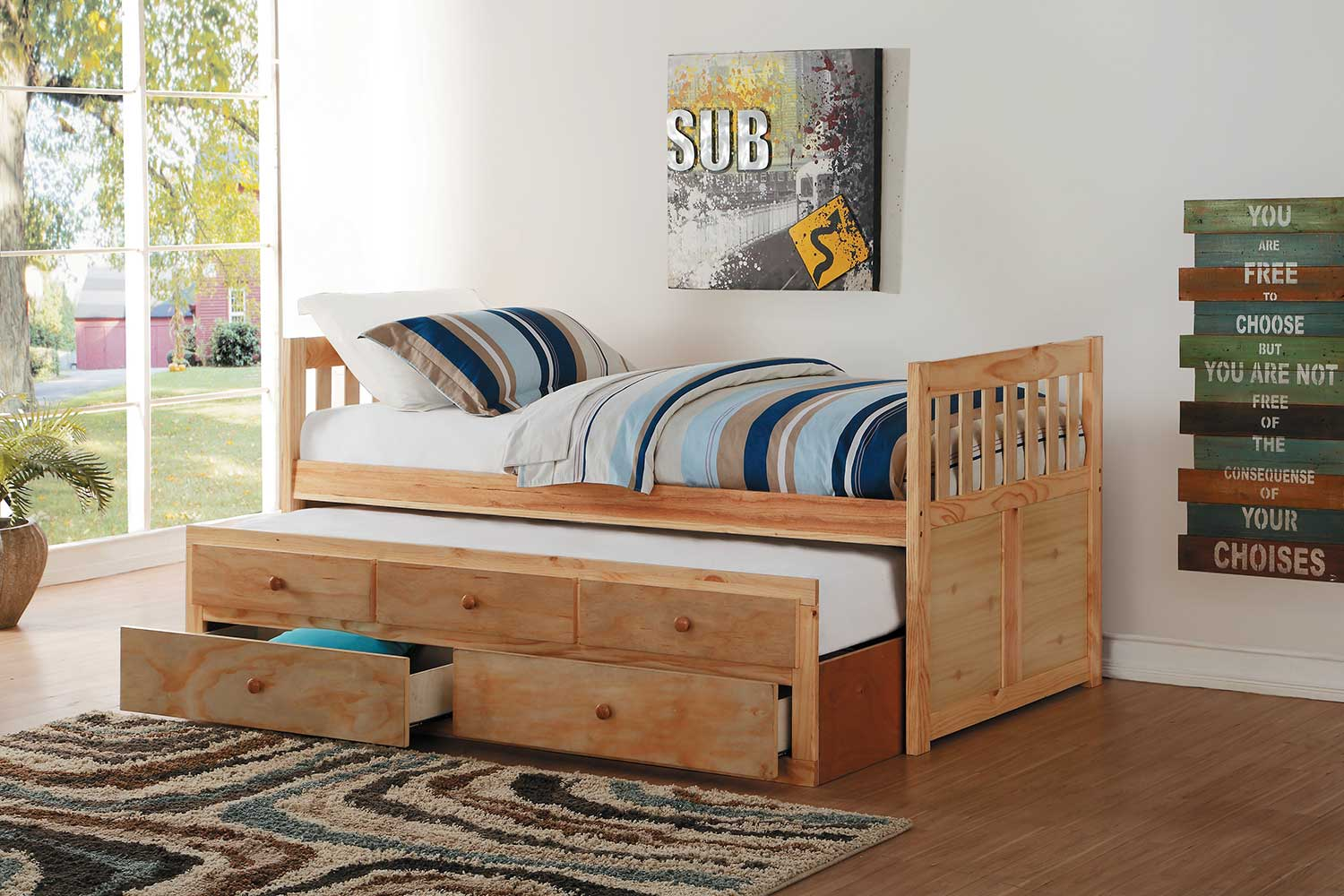 Homelegance Bartly Natural Pine Twin/Twin Bed with Trundle and 2