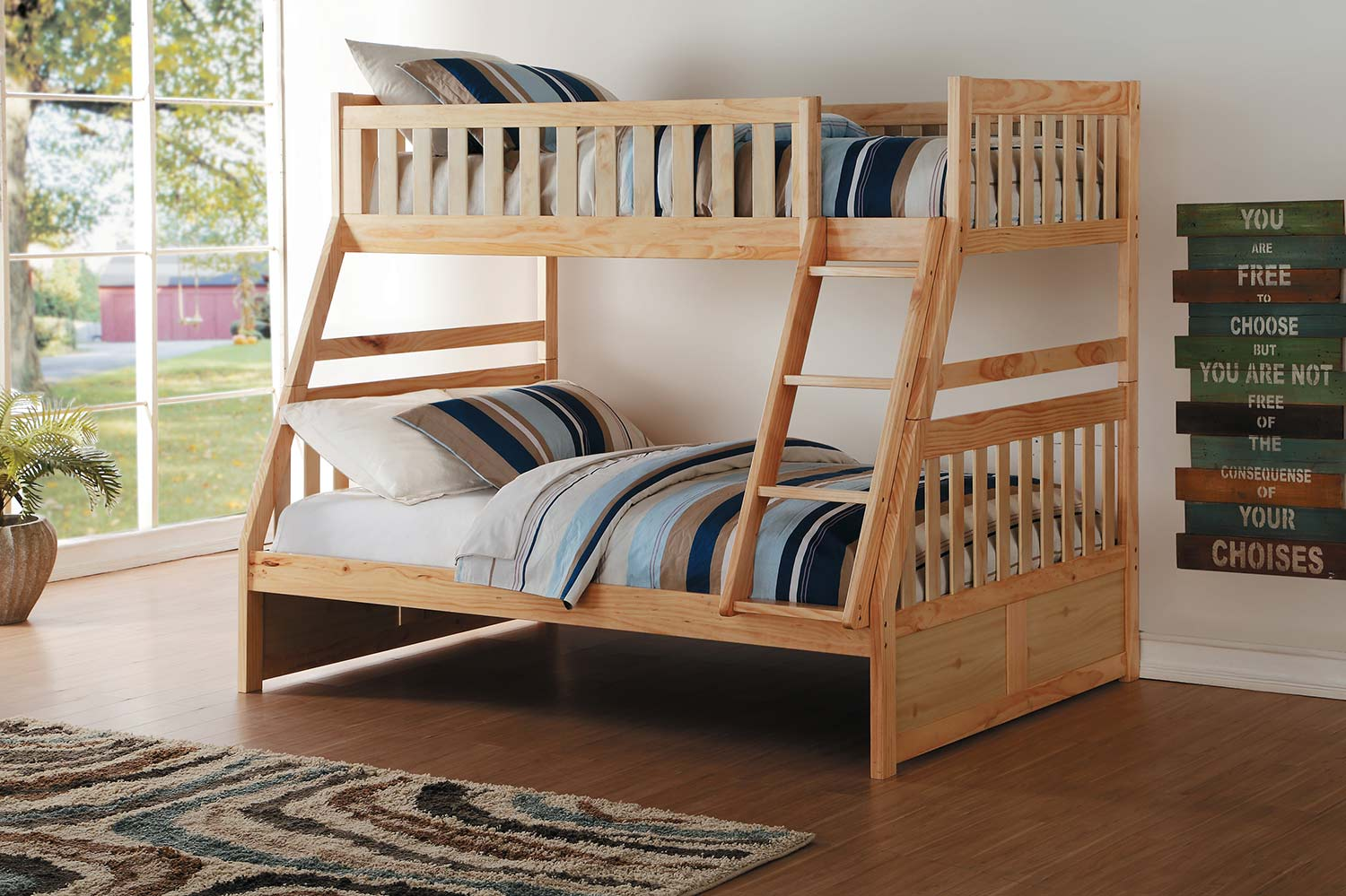 Homelegance Bartly Natural Pine Twin Full Bunk Bed Dallas