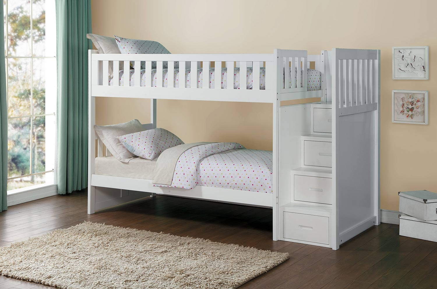 Homelegance Galen White Twin/Twin Bunk Bed with Step Storage Dallas ...