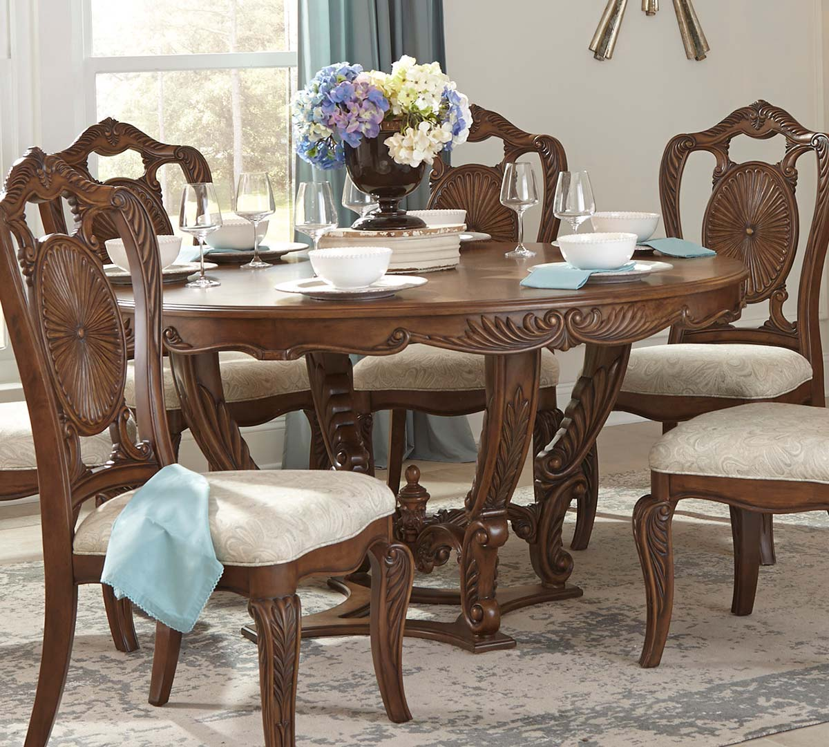 Homelegance Moorewood Park Pecan Round Dining Table With Leaf Dallas Tx Dining Room Dining Tables Furniture Nation