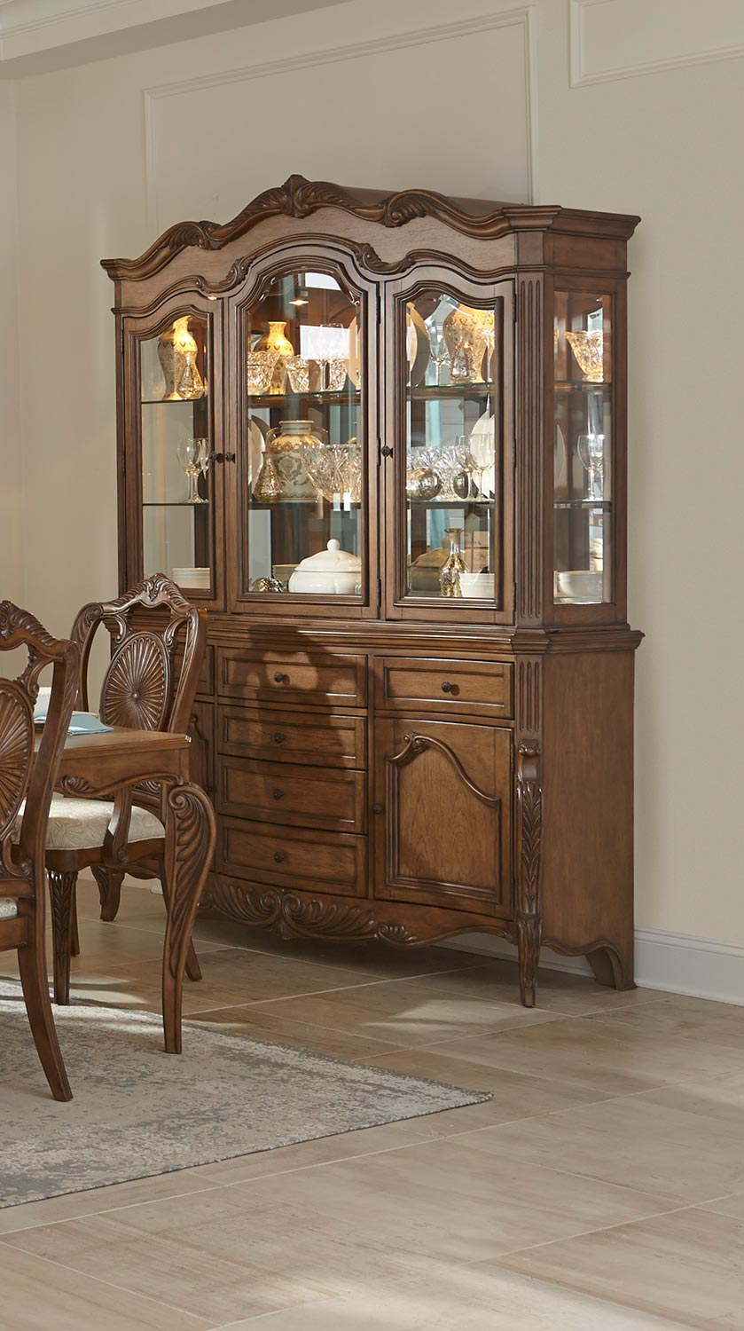 Homelegance Moorewood Park Pecan China Buffet Amp Hutch