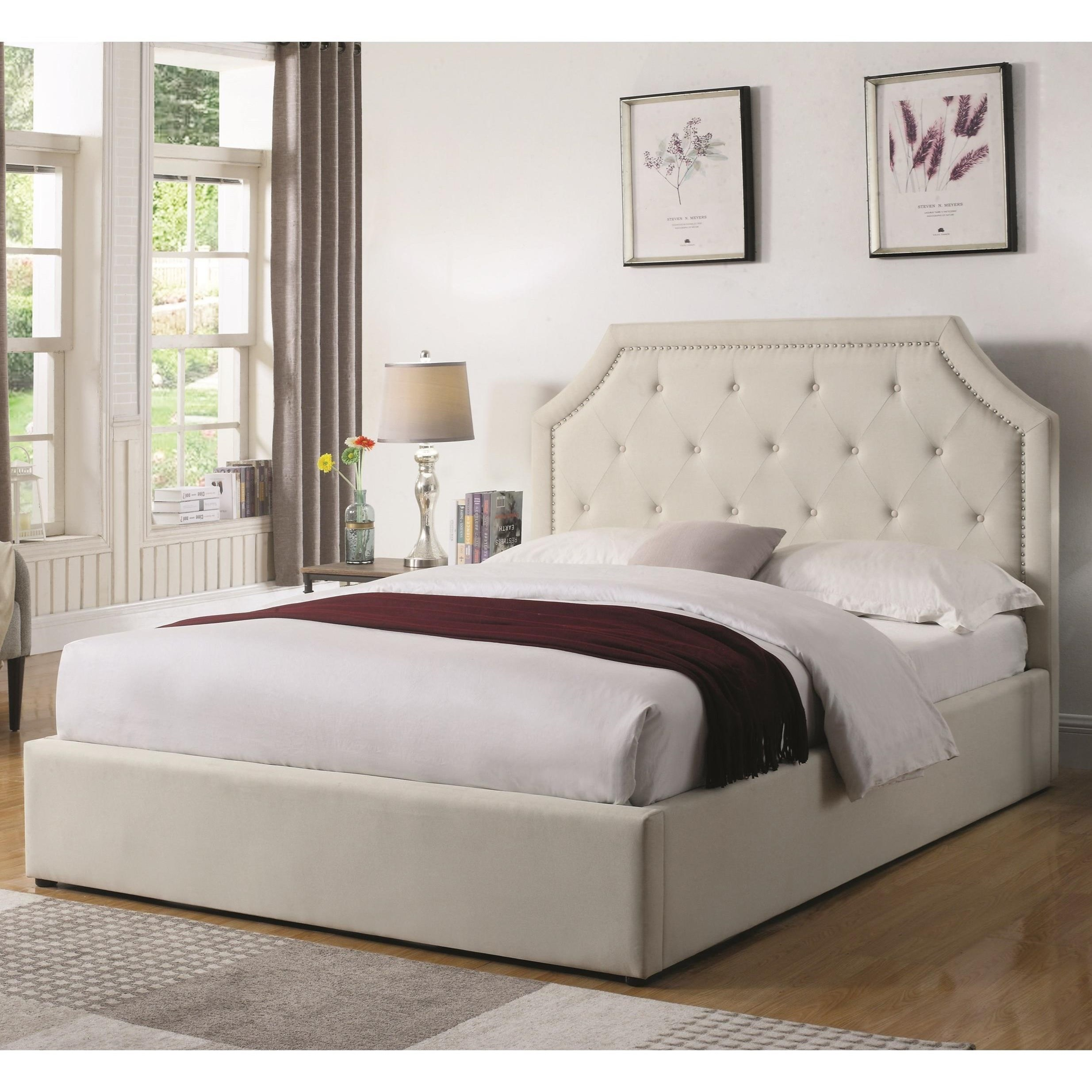 Coaster Hermosa Beige Queen Upholstered Platform Bed Dallas Tx Bedroom Bed Furniture Nation