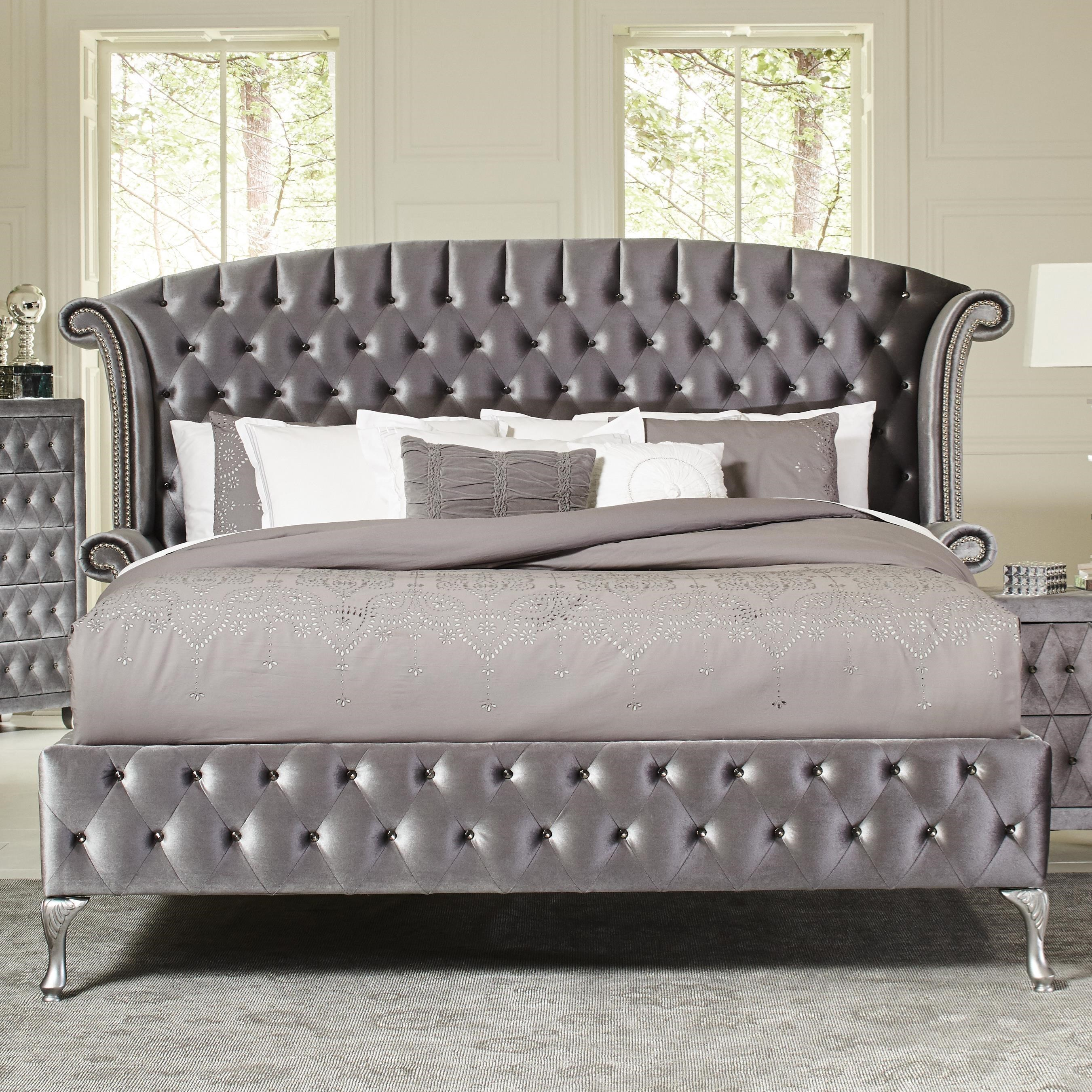Coaster Deanna Grey King Upholstered Platform Bed Available Online In Dallas Fort Worth Texas Please Upgrade To Full Version Of Magic Zoom