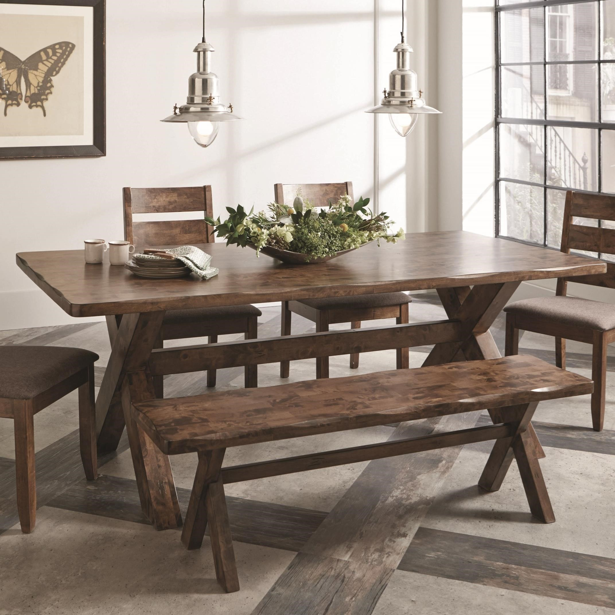 Dining Room Furniture Dallas Tx: Coaster Alston Knotty Nutmeg Dining Table With Wavy Edge