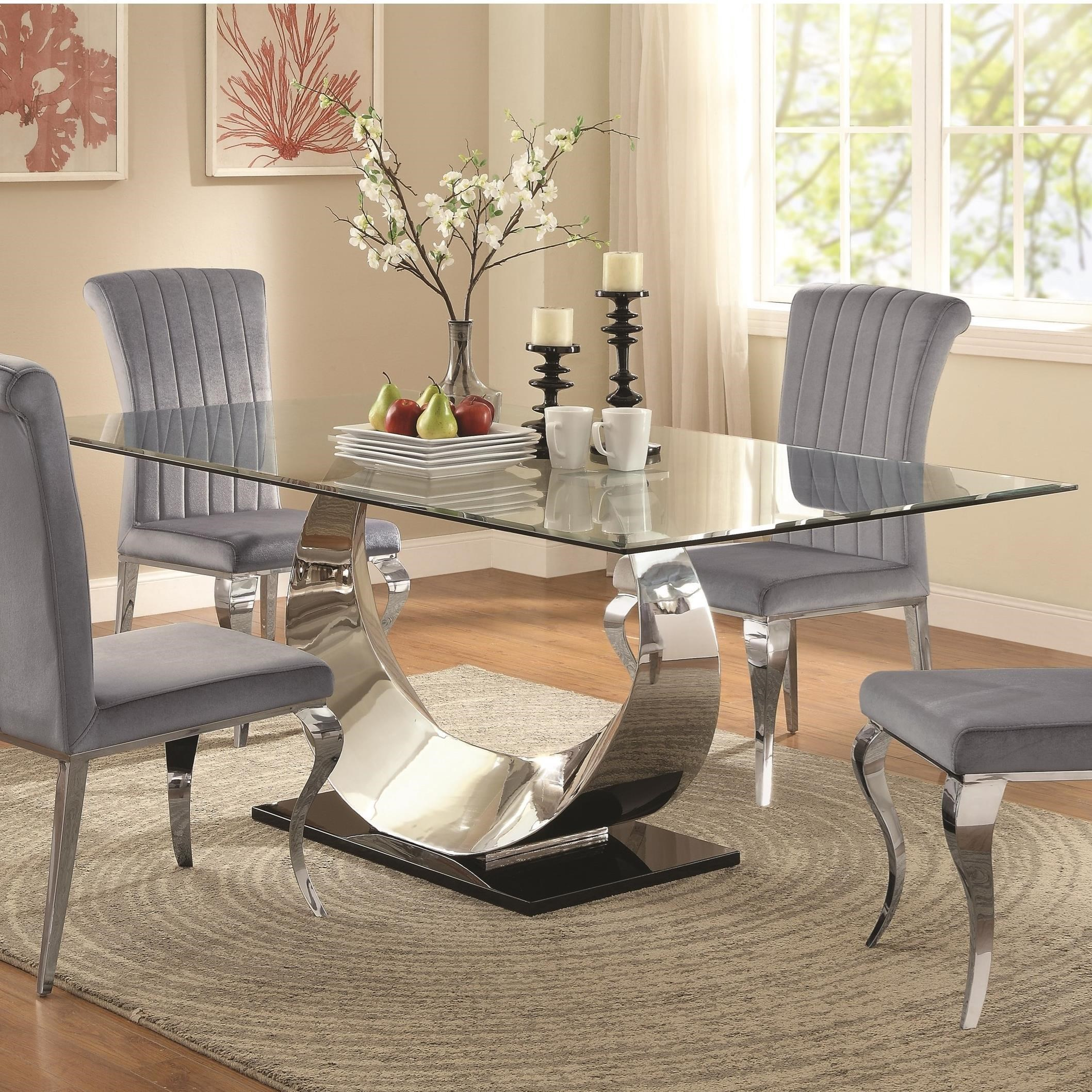 Coaster Manessier Chrome Dining Table Dallas Tx Dining Room Dining Tables Furniture Nation