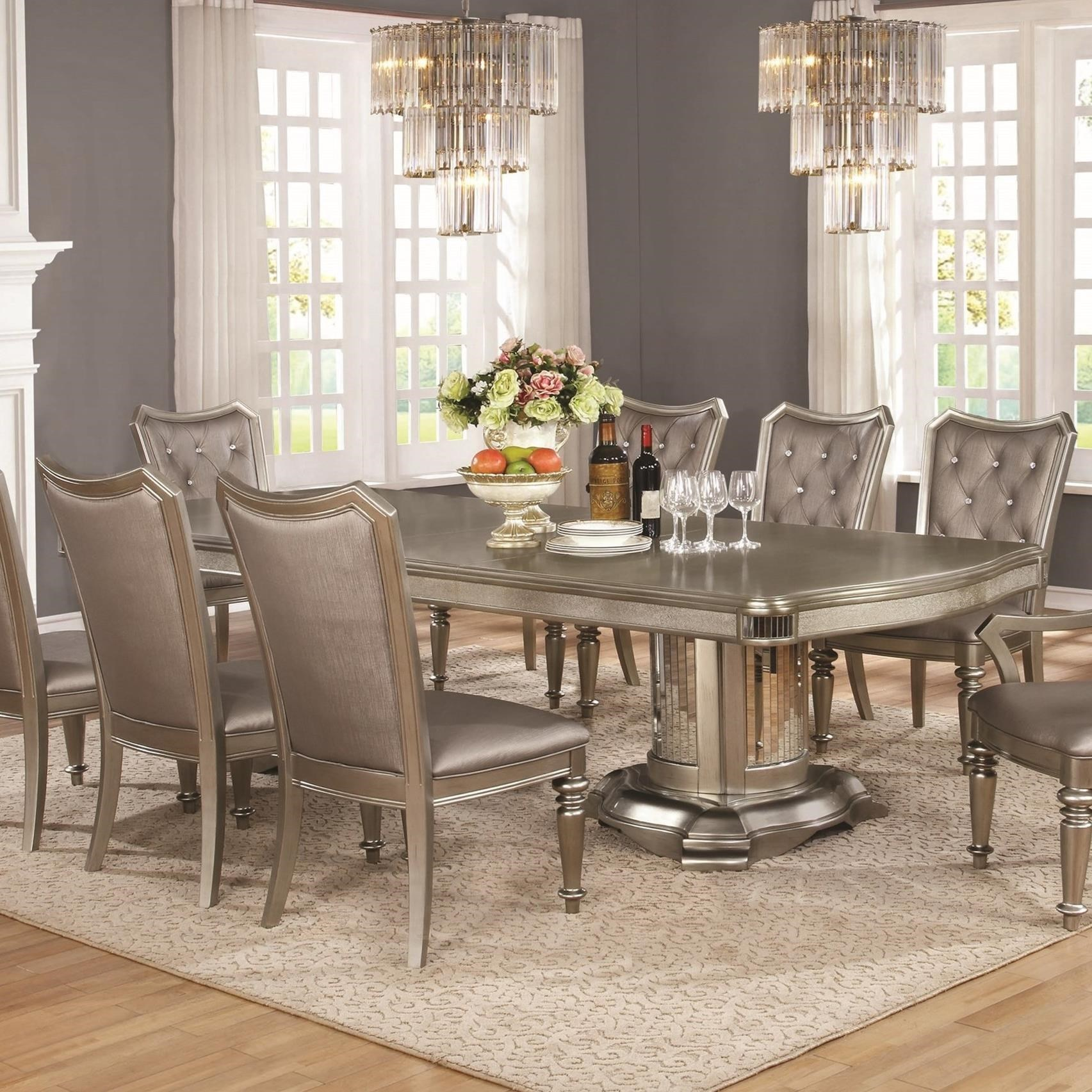 Pleasant Coaster Danette Metallic Platinum Dining Table Home Interior And Landscaping Ponolsignezvosmurscom