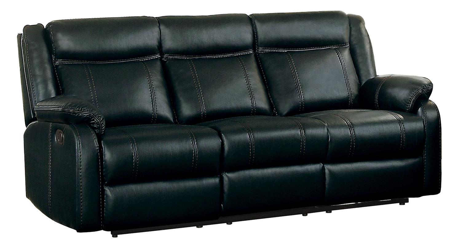 Homelegance Jude Black Double Reclining Sofa With Center Drop Down Cup Holder
