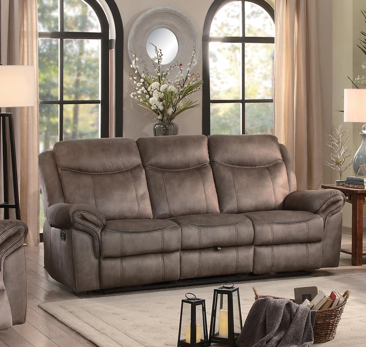 Homelegance Aram Brown Double Reclining Sofa With Drop Down Table And Center Storage Drawer