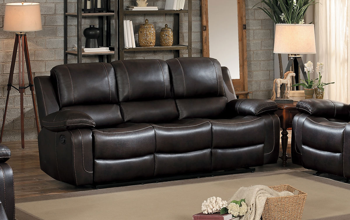 Picture of: Homelegance Oriolle Dark Brown Double Reclining Sofa With Center Drop Down Cup Holder Dallas Tx Living Room Sofa Furniture Nation