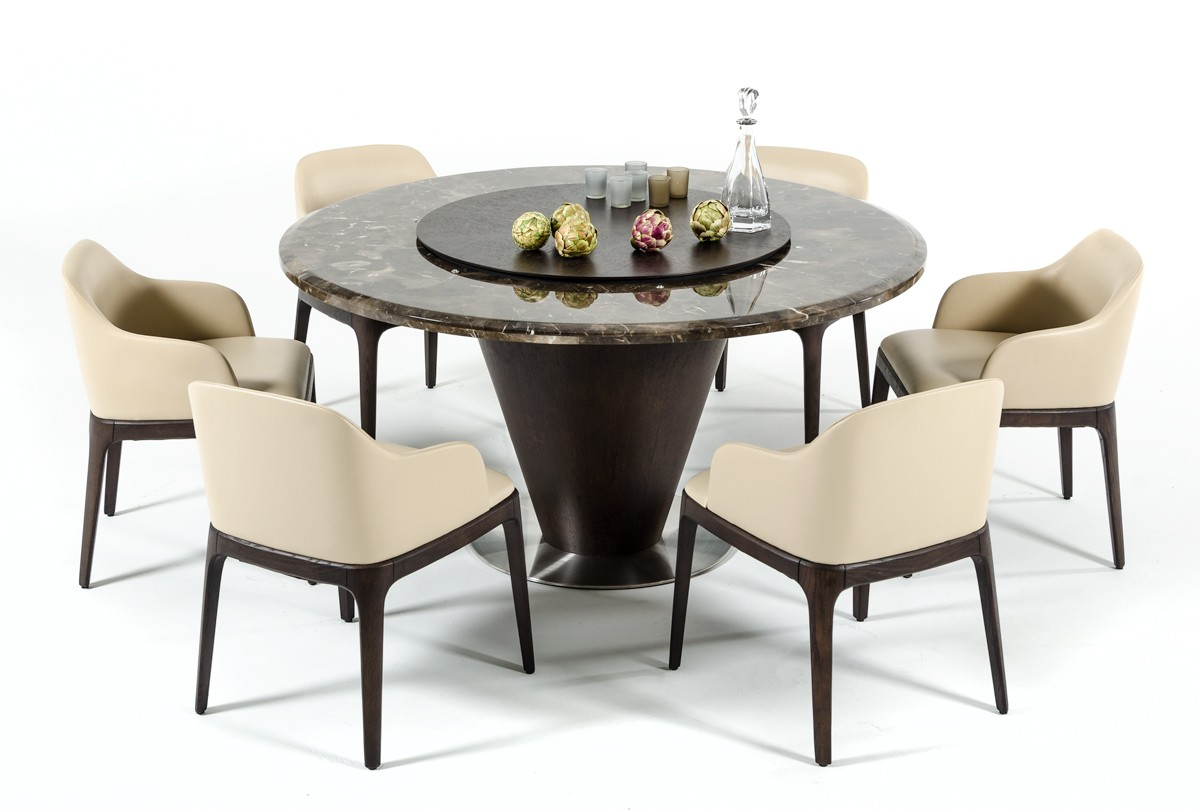 Vig Modrest Margot Brown Marble Round Dining Table