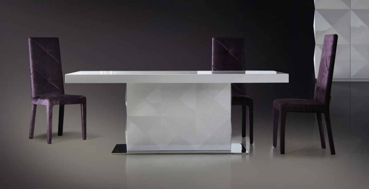 Vig Versus Eva White Lacquer Dining Table Dallas Tx Dining Room