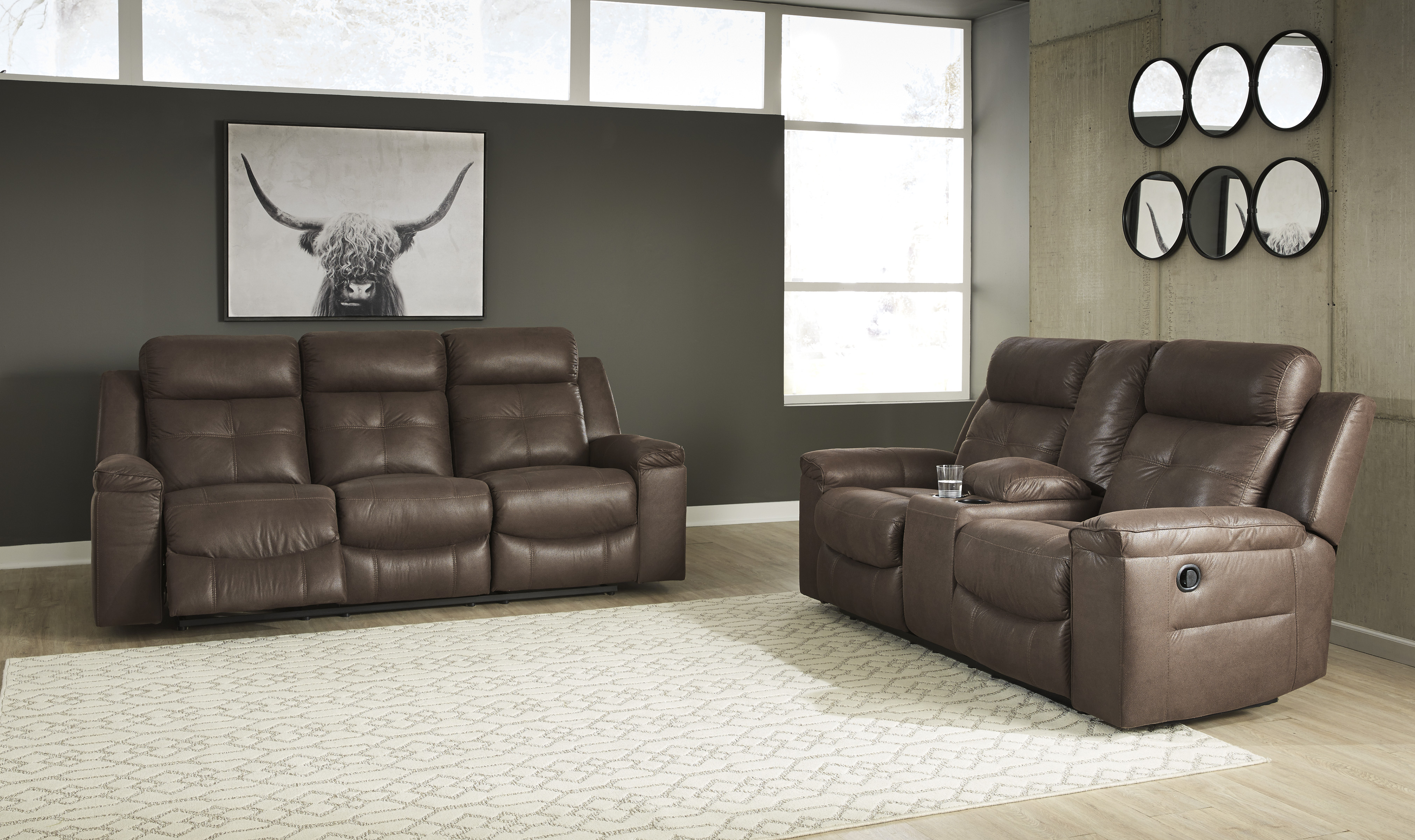 Jesolo 2pc Coffee Reclining Sofa