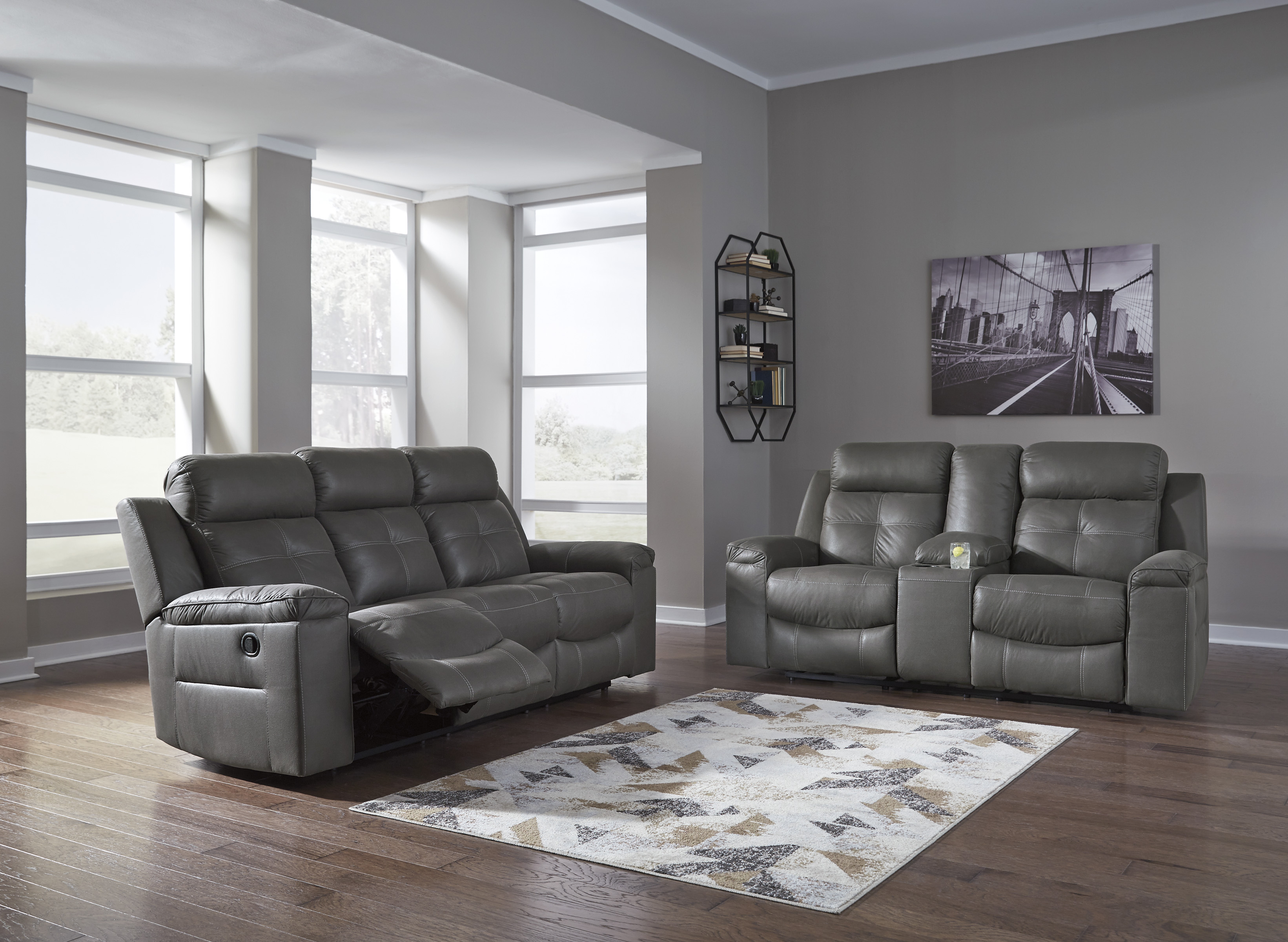 Jesolo 2pc Dark Grey Reclining Sofa