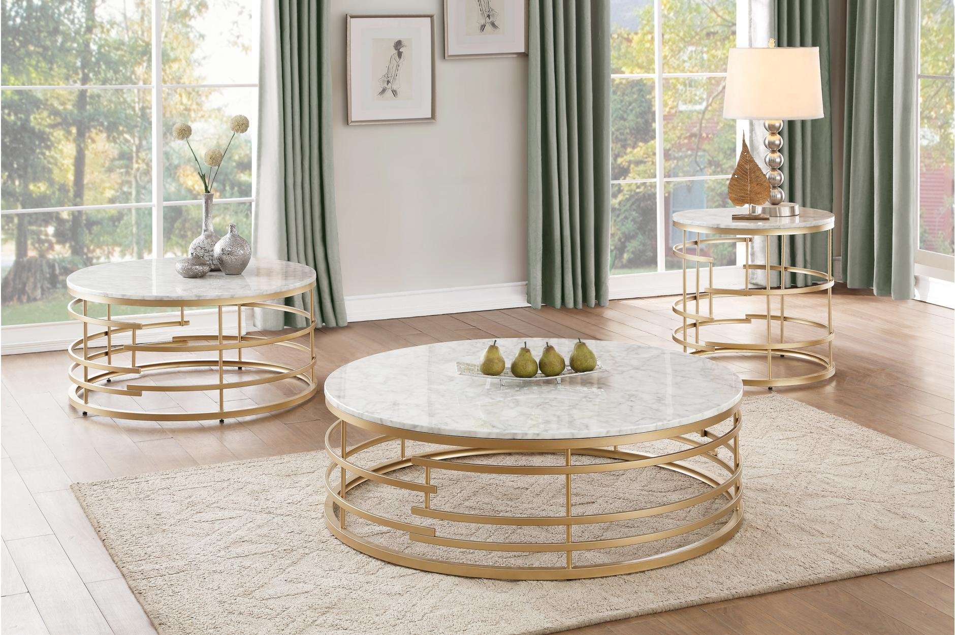 Homelegance Brassica 3pc Gold Round Coffee Table Set Dallas Tx