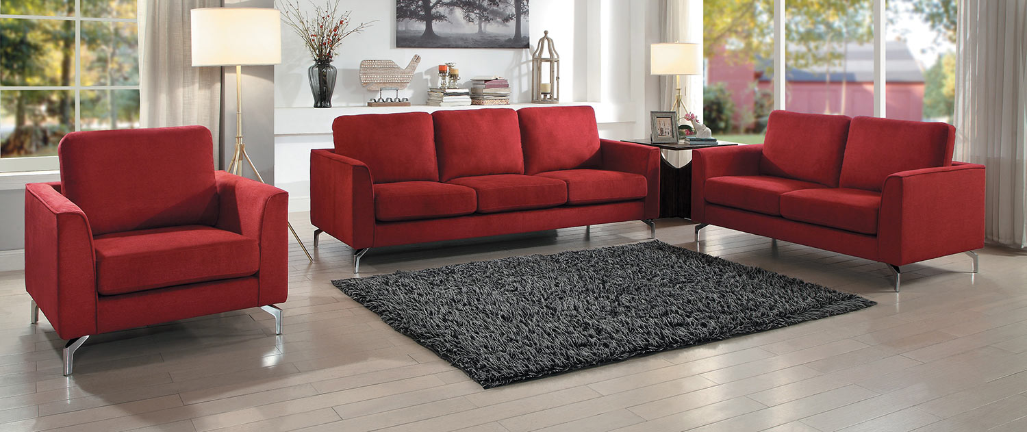 Homelegance Canaan 2pc Red Sofa & Loveseat Set