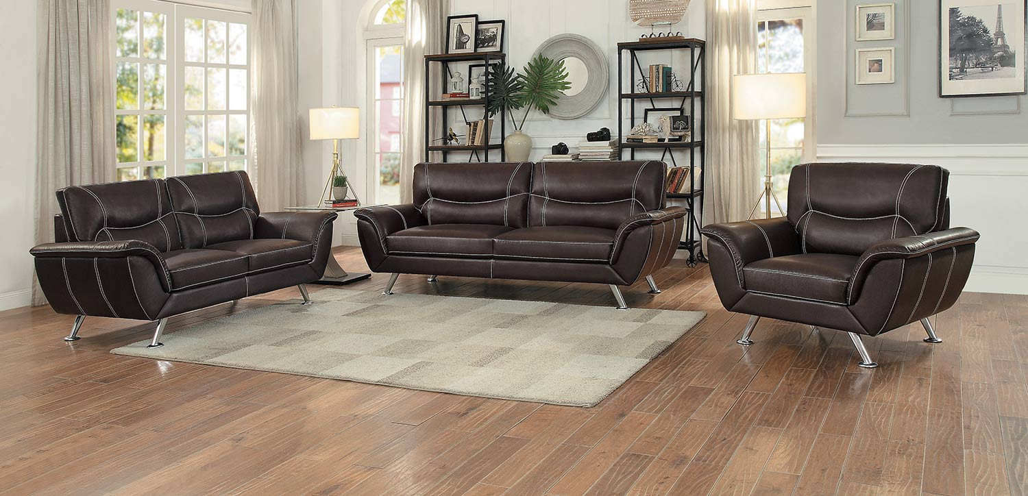 Homelegance Jambul 2pc Dark Brown Sofa & Loveseat Set