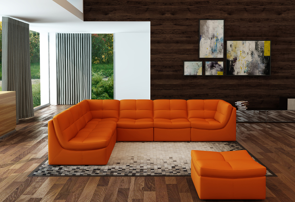 Fantastic Vig Divani Casa Orange Bonded Leather Sectional Sofa Gmtry Best Dining Table And Chair Ideas Images Gmtryco