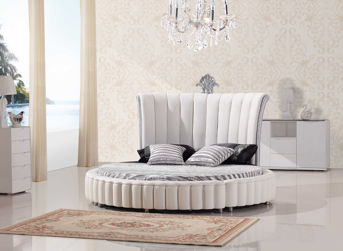 Bonded Leather Round Bed With Mattress