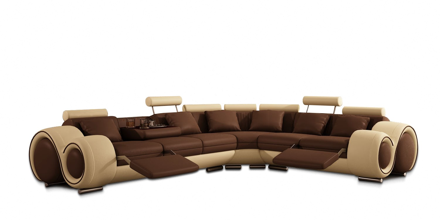 VIG Divani Casa Leather Sectional Sofa With Recliners