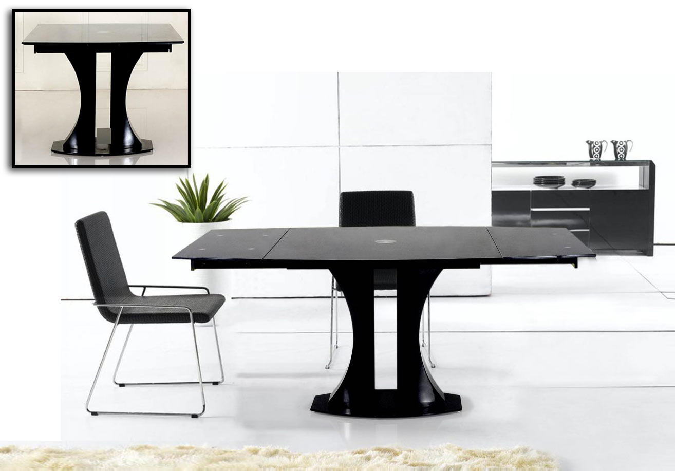 Picture of: Vig Modrest Split Modern Black Extendable Dining Table Dallas Tx Dining Room Dining Tables Furniture Nation