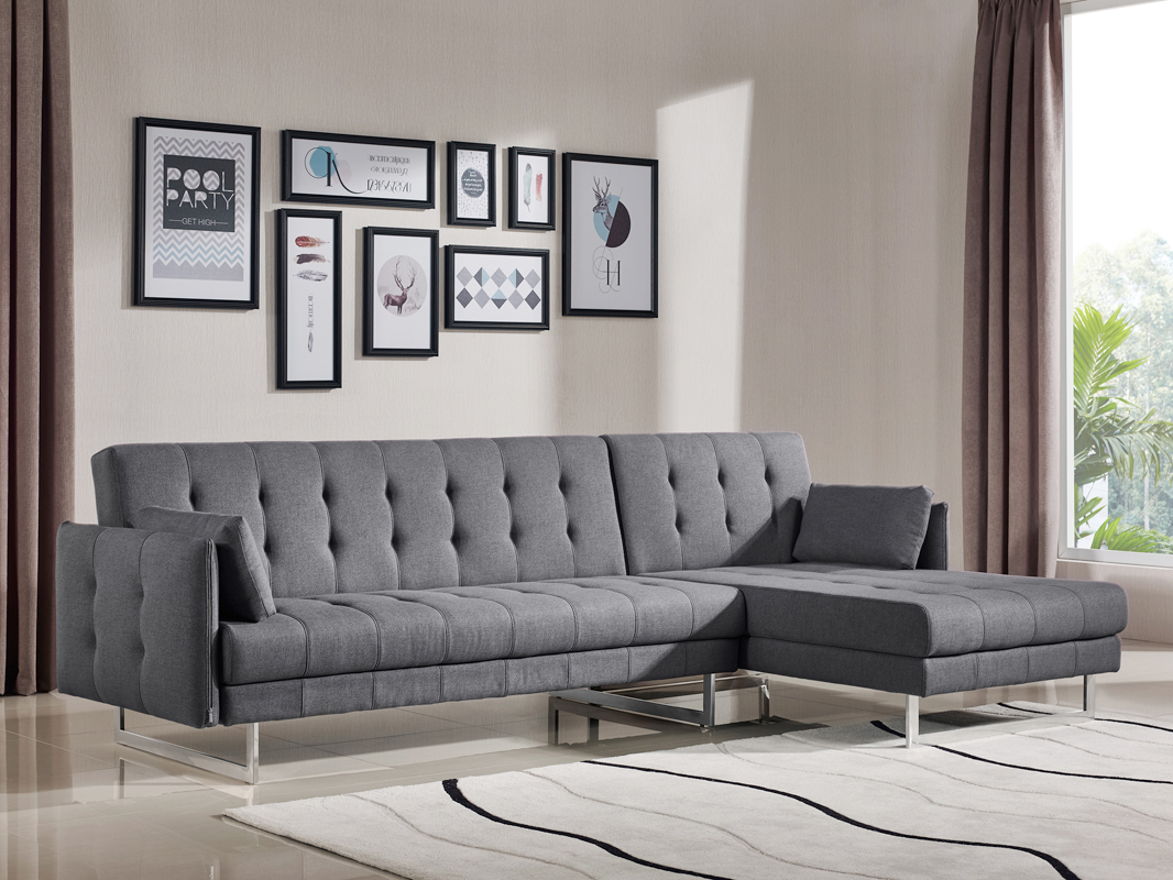 VIG Divani Casa Lennox Grey Fabric Sectional Sofa Bed