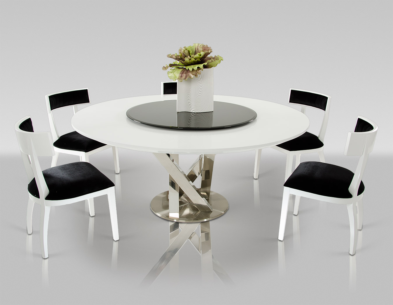 VIG A&x Spiral Round White Dining Table With Lazy Susan