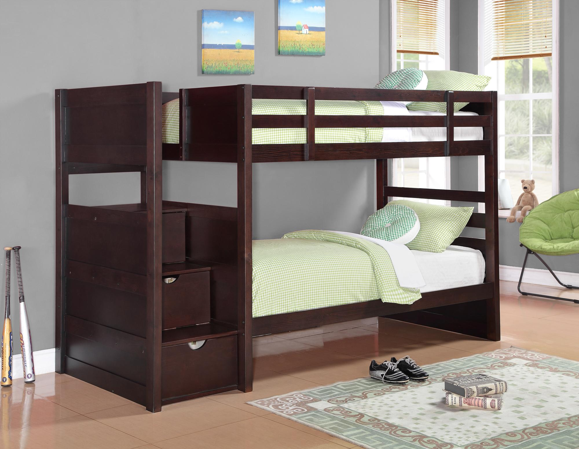 Coaster Elliott Twin Twin Staircase Bunk Bed Dallas Tx Kids Bunk Bed Furniture Nation