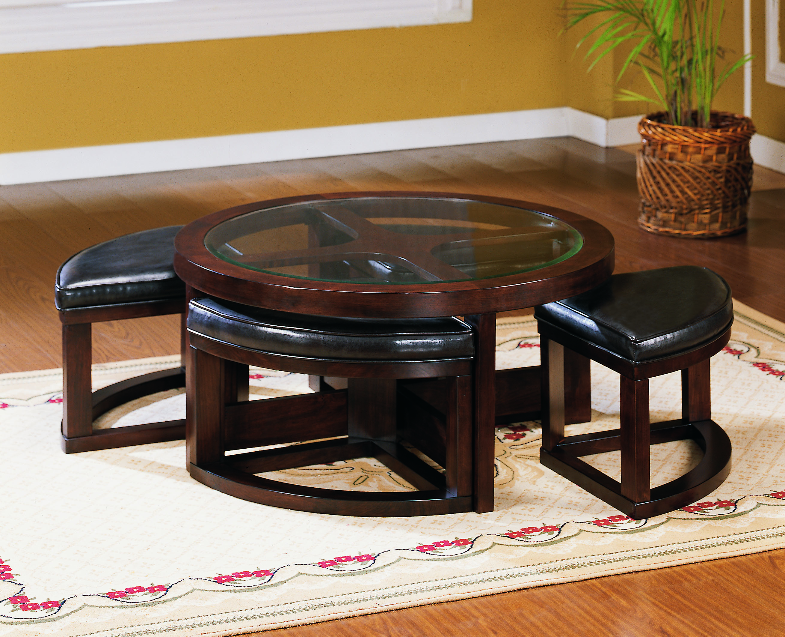 Homelegance Brussel Glass Top Coffee Table With 4 Stool