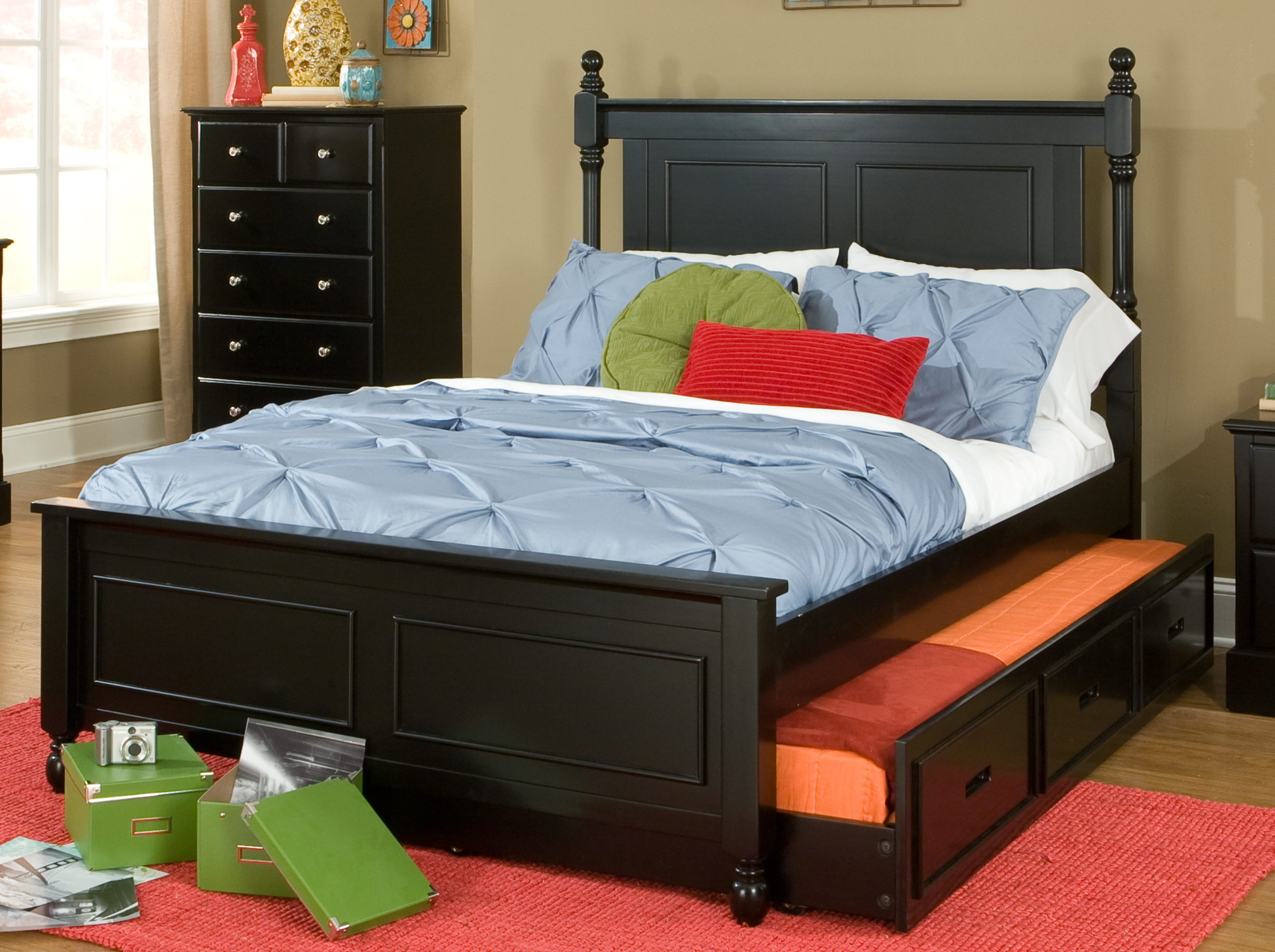 Homelegance Morelle Black Full Over Twin Trundle Bed