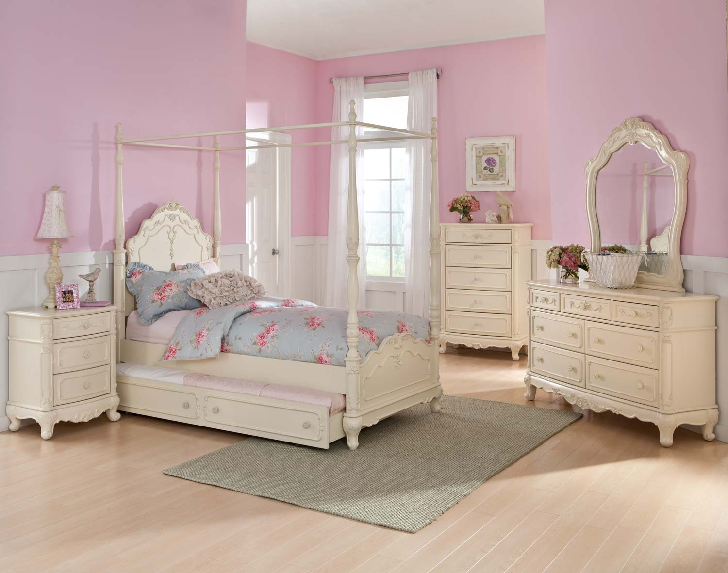 Homelegance cinderella full white 5pc canopy bedroom set for Full bed bedroom sets