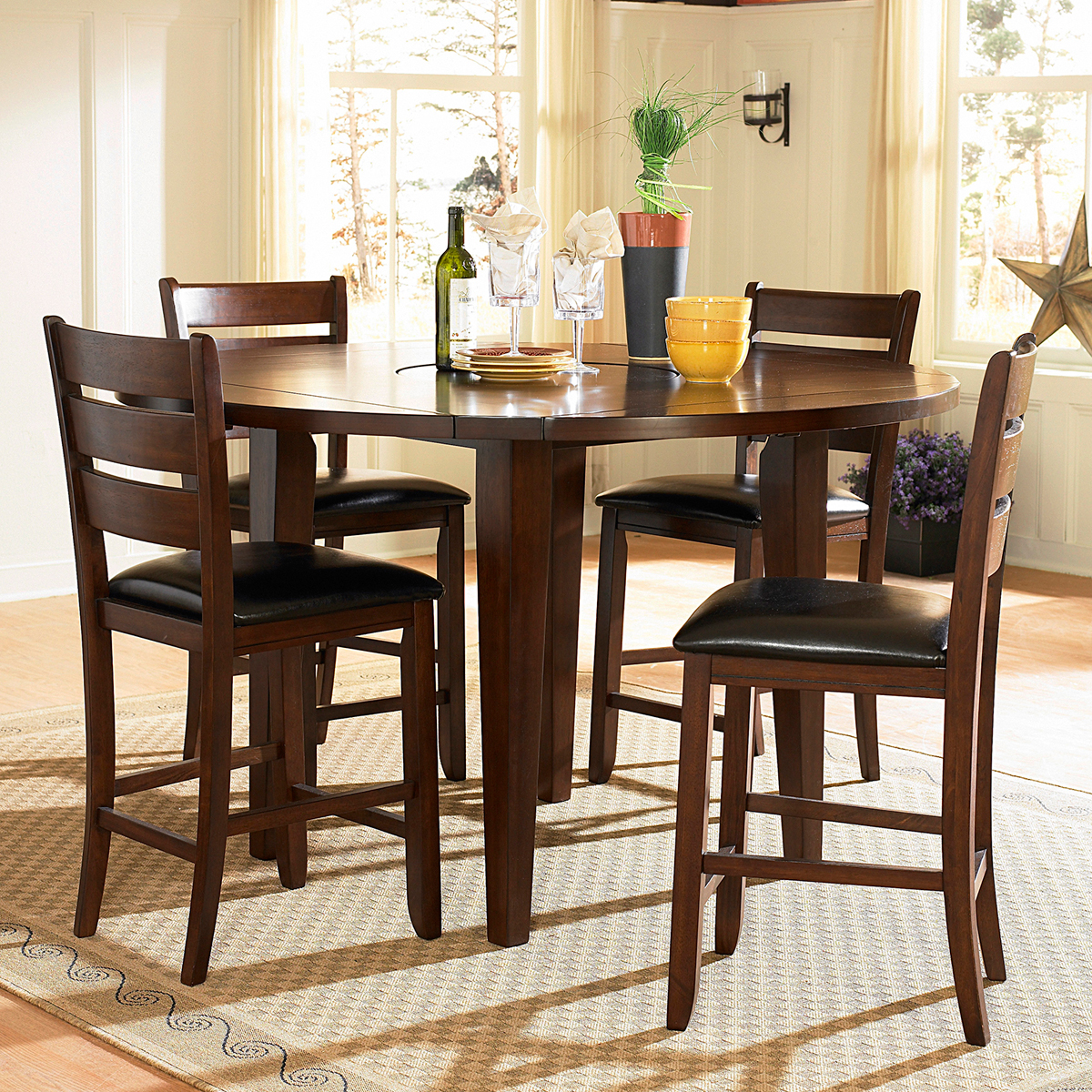 Dining Room Sets Dallas Tx: Homelegance Ameillia Dark Oak 5pc Round Counter Height