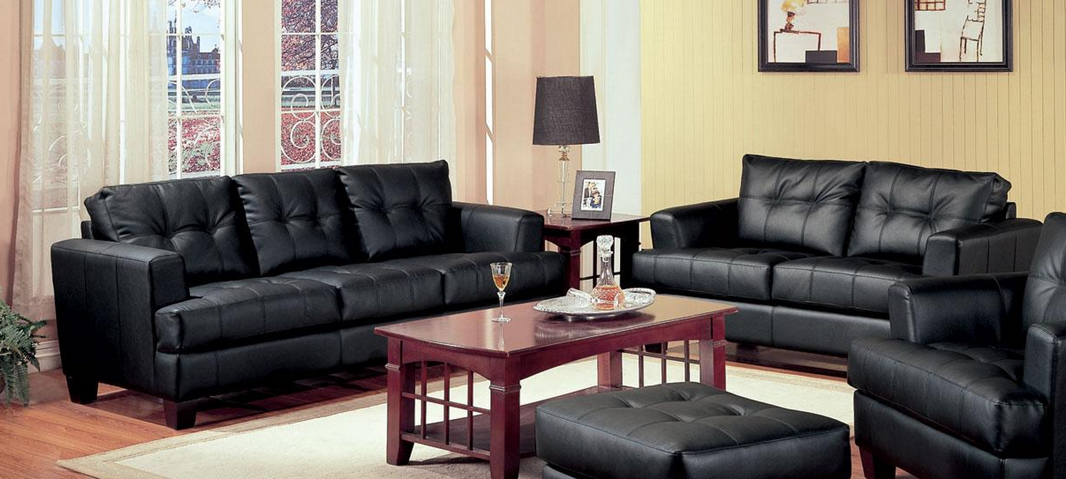 Coaster samuel black sofa loveseat set dallas tx Living room furniture dallas